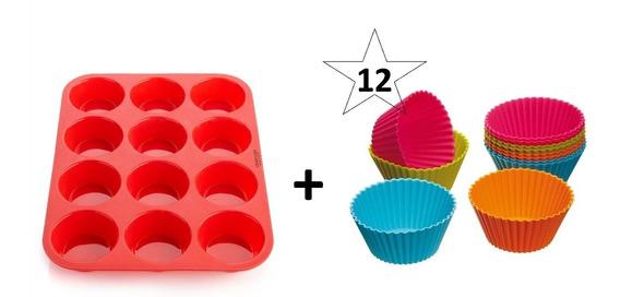 Set Molde Silicona Muffins X12 + 12 Individuales Goma Horno