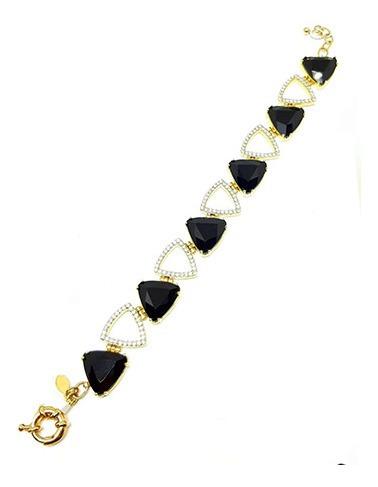 Pulseira Dourada Com Pedras Triangulares