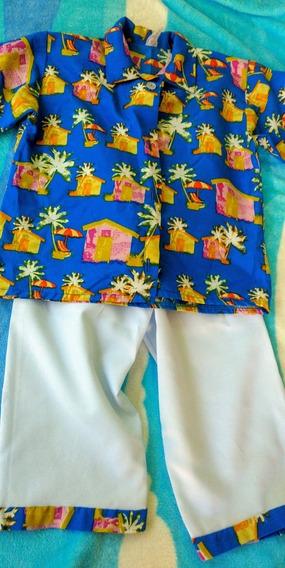 Conjunto Traje Disfraz De Hawaiano Para Niño Talla 8
