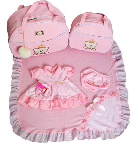 Kits Saídas Maternidade Com Bolsas 2pcs Rosa Vestido Menina