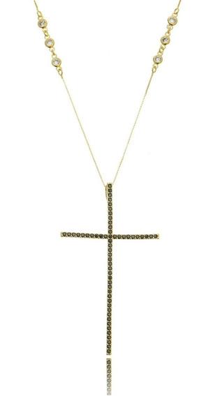 Colar Crucifixo Preto 7 Cm Com Corrente Tiffy Semijoia Ouro