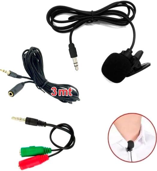 Kit Microfone De Lapela Adaptador Extensão P/ Celular Câmera
