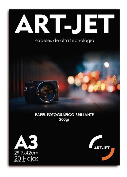Resma A3 Foto Glossy Brillante 20hs 200g Fotografico Art-jet