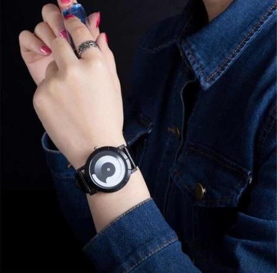 Relógio Analógico Pulso Masculino Feminino Pulseira Courino
