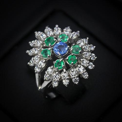 Belo Anel Vintage Em Esmeraldas E Safira Azul!12x Sem Juros!