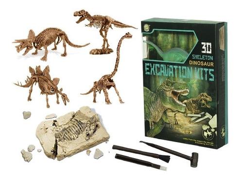 Kit Excavación Grande C/ Dinosaurios 3d Paleontología Full