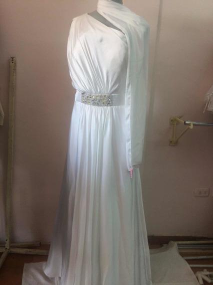 Lindo Vestido Blanco De Novia Semi-escotado Usa Talla L