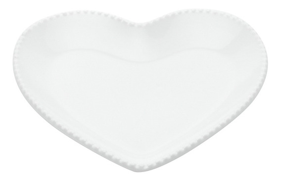 Porta Anéis Em Cerâmica Urban Heart Shape Basics 18cm Branco