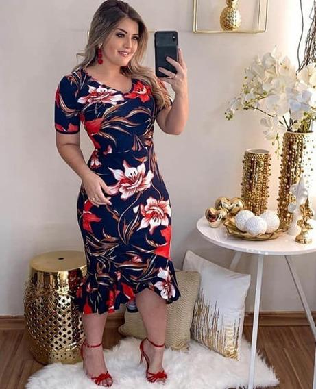 Vestido Tubinho Midi, Crepe Floral Tamanho Único Evangélico.