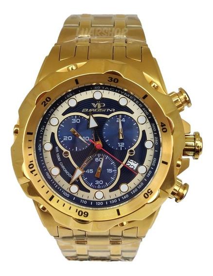 Relógio Dourado Vip Masculino Grande Cronografo Ostentação
