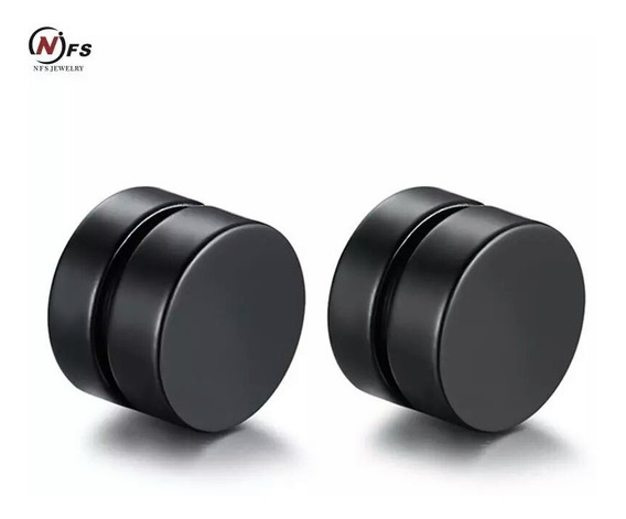 Par 2 Aretes Piercing Falsa Perforación Imán Expansor Negro