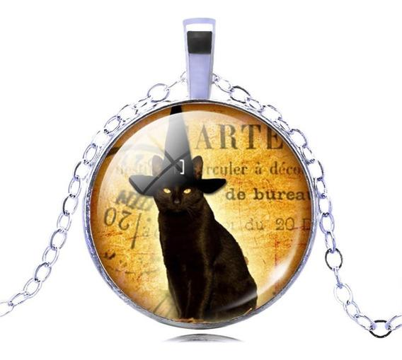 Lindo Colar Pingente Gato Preto Bruxa Wicca Mod3 Black Cat