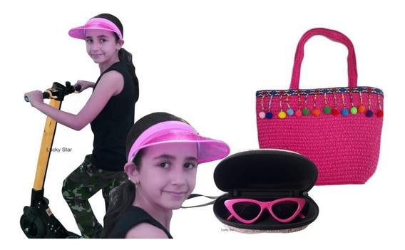 Bolsa Infantil + Viseira Transparente Anita + Óculos De Sol