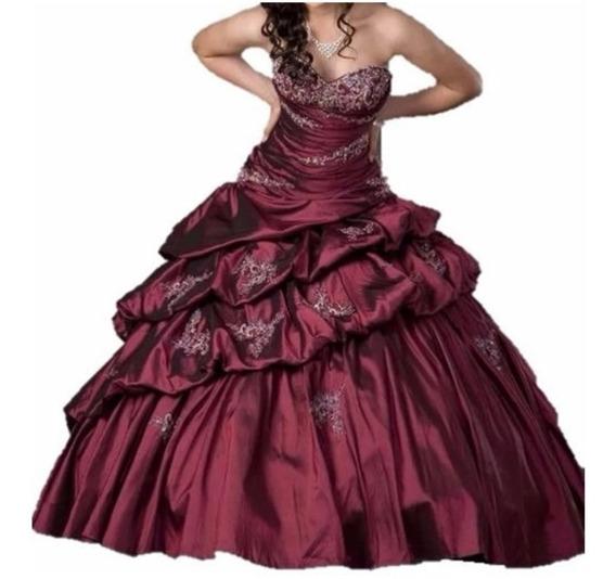 Vestido De Xv 15 Quince Años Color Merlot Quinceañera