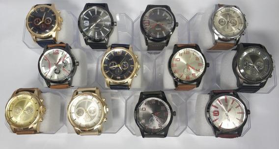 Kit 10 Relógio Masculino Pulseira De Couro