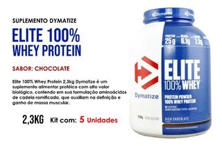 5x Elite 100% Whey Protein Dymatize Chocolate 2,3kg