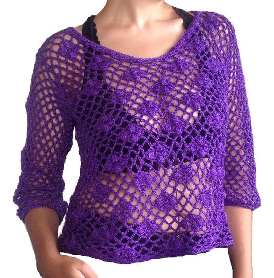 Polera Tejida A Crochet En Punto Calado Color Morado