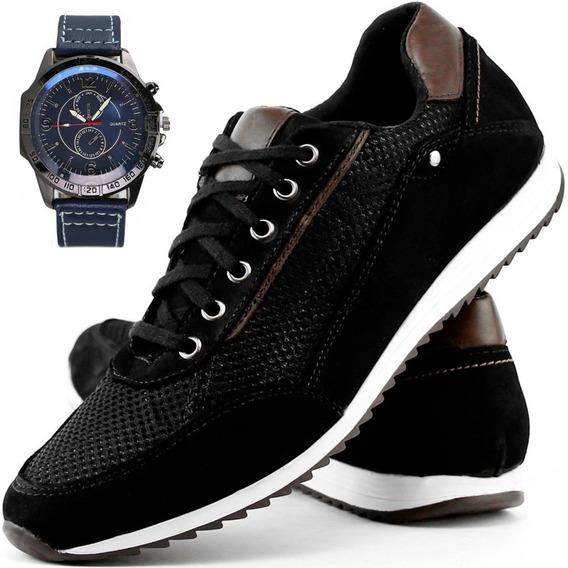 Relógio + Sapatênis Tênis Couro Legitimo Jogger Masculino2x1