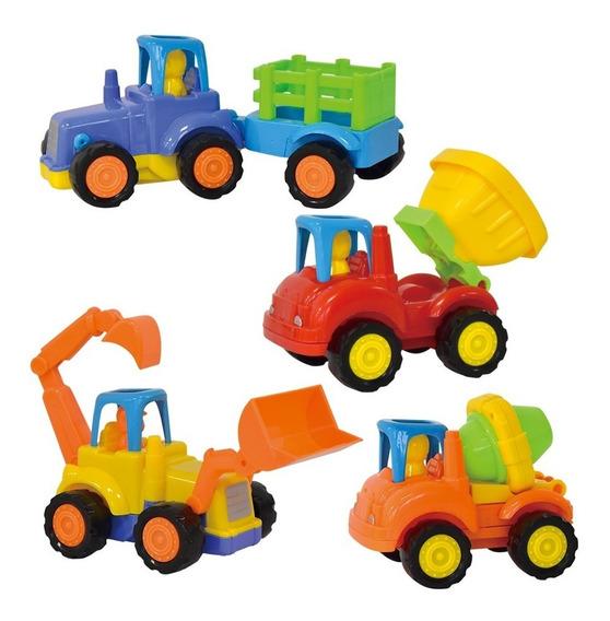4 Camioncitos De Construcción De Juguete Plástico