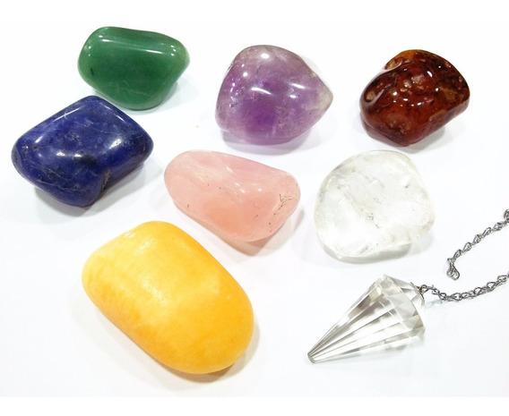 Kit 7 Chacras Pedras Grandes + Pêndulo De Cristal + Apostila