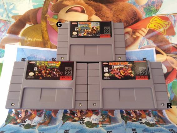 Dk Fitas Cartuchos Super Nintendo Donkey Kong 1,2 E 3 Salvam