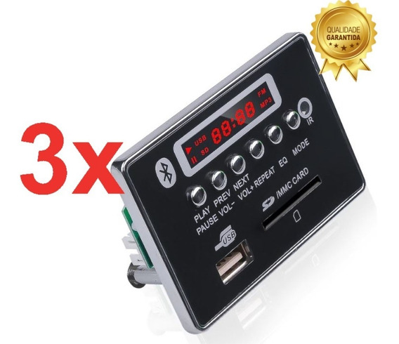 Placa Decodificador Usb Mp3 Fm Aux Bluetooth - 3 Peças