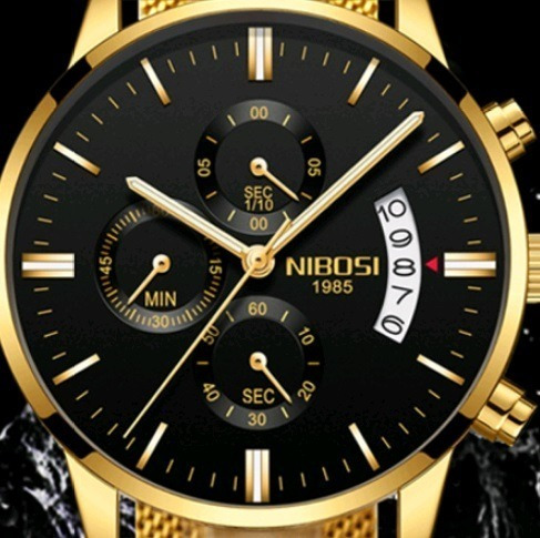 Relógio Masculino Nibosi Original Quartzo Malha Aço Safira