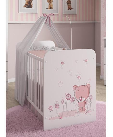 Berço Serpil Kids C-958 Com Mosqueteiro Branco/urso/rosa