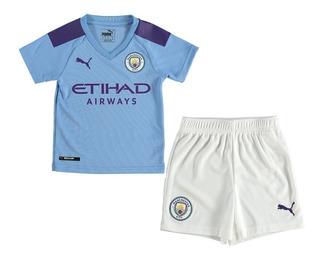 Kit Infantil Manchester City 2020 - De Bruyne, Kun Agüero, G. Jesus, Sterling, Mahrez, Sane