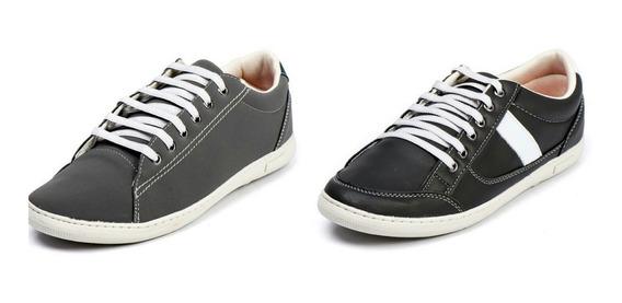 Sapato Sapatênis Tenis Masculino Kit 2 C\pt Frete Grátis