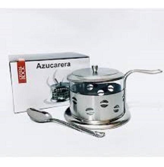 Azucarera De Vidrio Base Metal Con Cucharita En Caja