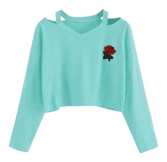 Sueter Dama Sweater Croptop Rosas