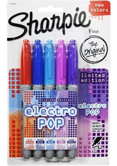 Marcadores Sharpie Fino X5 Colores Ed. Limitada Electro Pop