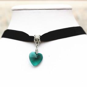 ca26bb559bd2 Collar Gargantilla Choker Corazón Verde Oscuro Regalo G-029