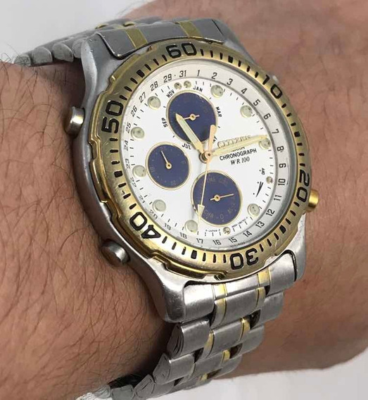 Raro Relógio Citizen Cronógrafo Wr 100 Alarme 6850-g81180 K