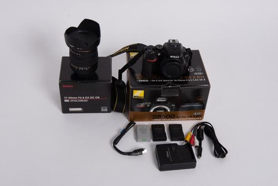 Nikon D5500 Na Caixa + Lente 17-50 2.8 Os Sigma + 2 Baterias