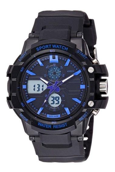 Skmei 0990 Relógio Led Militar Azul E Preto Masculino