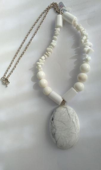 Colar Raulita E Quartzo Branco Pedras Verdadeiras