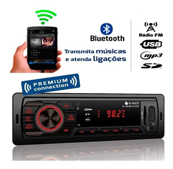 Auto Radio E-tech Premium Bluetooth Usb Aux Sd Fm Controle