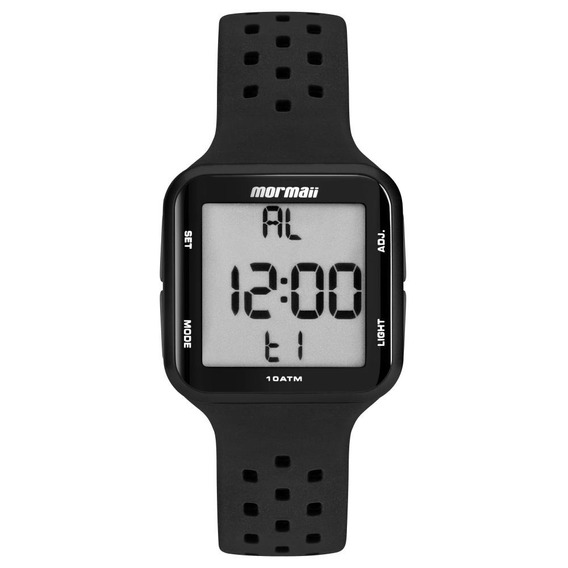 Relógio Unissex Mormaii Wave Mo6600/8p 38mm Silicone Preto