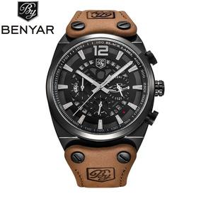 Relógio De Pulso Masculin Luxo Benyar By-5112 Preto Na Caixa