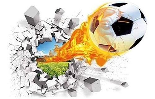 Vinilo Adhesivo Decorativo Pared Rota Pelota Fútbol 3d S260