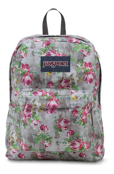 Mochila Superbreak Gris C/flores Rosas Jansport Js00t501-0kl