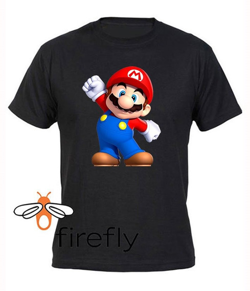 Remera Mario Bros Niño Negro Coleccion 1 Firefly