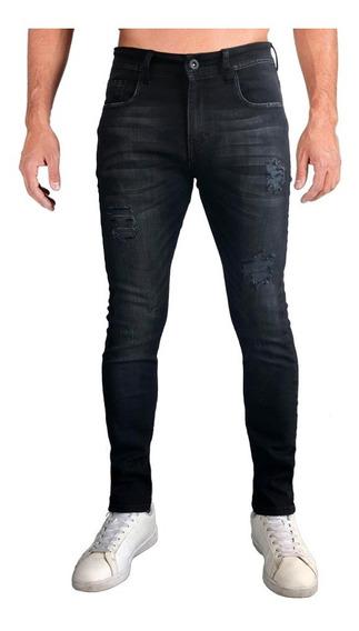 Jeans Pantalón Mezclilla Negro Skinny Hombre Black Rocket