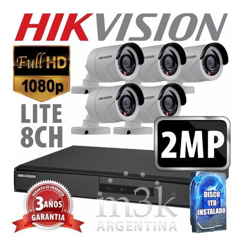 Kit Seguridad Hikvision Full Hd Dvr 8 + Disco 1 Tb Instalado + 5 Camaras 2mp 1080p Exterior Infrarrojas + Ip M3k