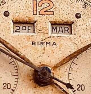 Cronógrafo Birma Valjoux 72c Tricalendario 1940 Guerra