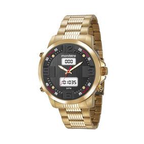 Mondaine Relógio Analógico E Digital Mostrador 3d Dourado