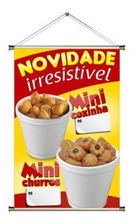 Banner De Mini Coxinha Mini Churros No Copo - 60x90cm