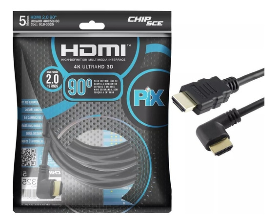 Rf Cabo Hdmi L 5m 90 Graus Blindado 2.0 Ethernet 5 Metros 4k